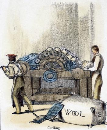 'Carding', c 1845.