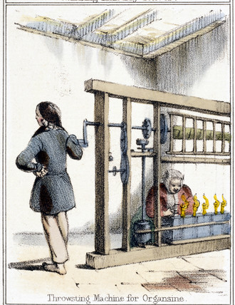 'Throwsting Machine For Organisine', c 1845.