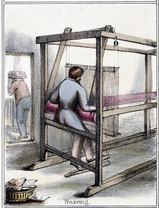 'Silk Weaving', c 1845.