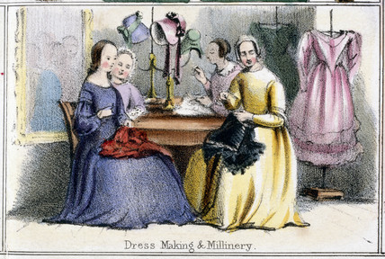 'Dres Making and Millinery', c 1845.