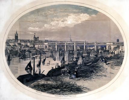 High Level Bridge, Newcastle upon Tyne, c 1851.