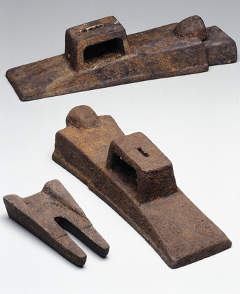 Ancient Chinese cast iron implement moulds, c 300 BC.