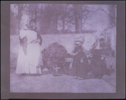 Nurse and two children with toy hay cart, 1842.