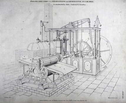 'Perspective View of a Steam Engine and Horizontal Sugar Mill', 1827.