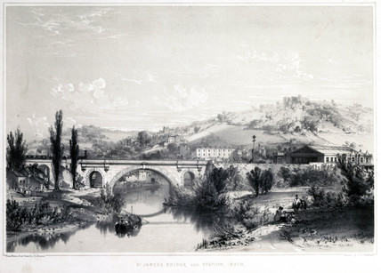 St James's Bridge and station, Bath, on the Great Western Railway, 1846.