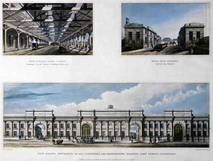 Three views of Liverpool and Manchester Railway, 1836.