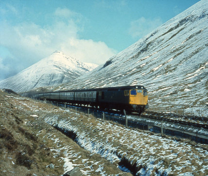 Winter on the West Highland line, c 1970.