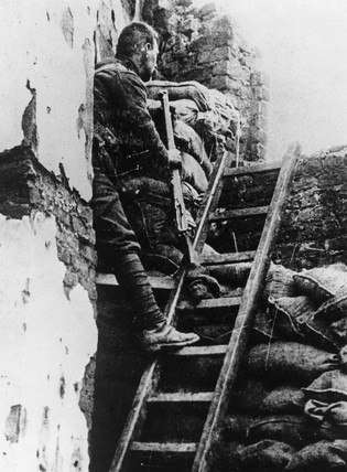 British sniper at his post in a trench, 1914-1918.