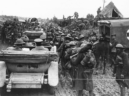 A crowded road, Somme, October 1917.