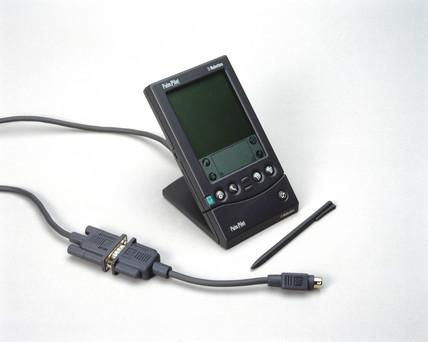 'PalmPilot' palmtop computer, c 1998.