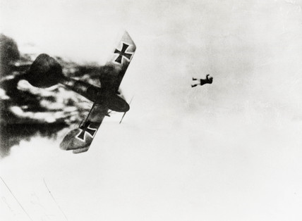 German pilot jumping from his burning Albatros, 1914-1918.