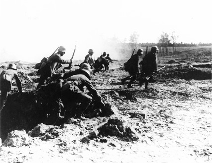 Soldiers attack during a battle on the West