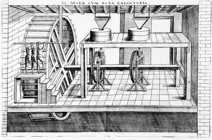 Millstones driven by tread-wheels, 1590.