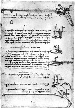 Leonardo da Vinci's notebooks showing machines for working optical surfaces.
