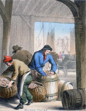 'Herring Curing', c 1845.