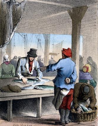 'Fish Market', c 1845.