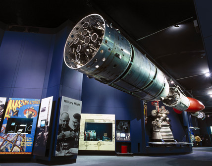 Black Arrow R4 rocket in the Space Gallery, Science Museum, 2000.