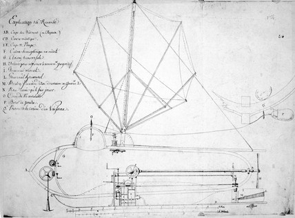 Longitudinal section of Fulton's submarine boat 'Nautilus', 1798.
