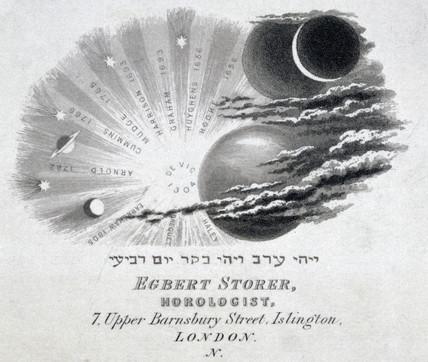 Engraved trade card of Egbert Storer, horologist, Islington, London, c 1870s.