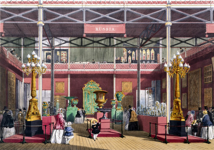 Rusian stand at the Great Exhibition, Crystal Palace, London, 1851.