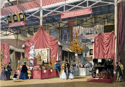 North German stand at the Great Exhibition, Crystal Palace, London, 1851.