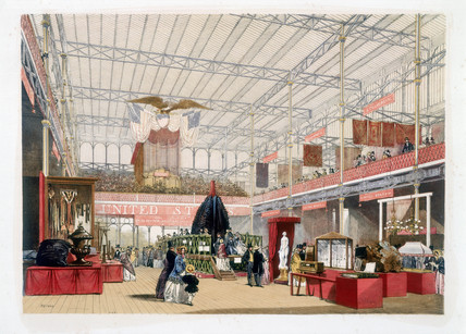 The America stand at the Great Exhibition, Crystal Palace, London, 1851.