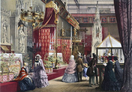 Medieval Court stand at the Great Exhibition, Crystal Palace, London, 1851.