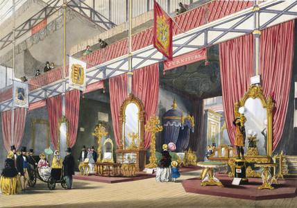 Furniture at the Great Exhibition, Crystal Palace, London, 1851.