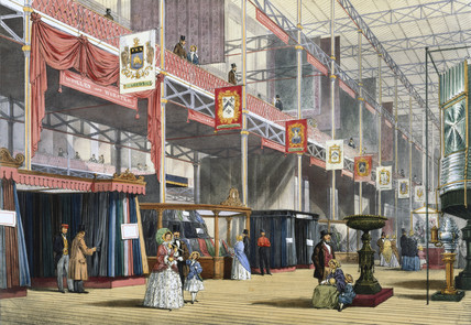 A wool stand at the Great Exhibition, Crystal Palace, London, 1851.
