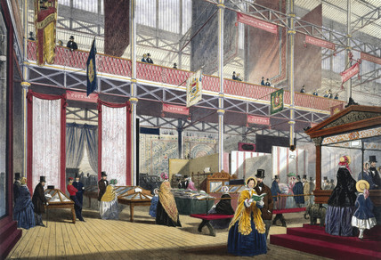 Cotton, carriages etc at the Great Exhibition, Crystal Palace, London, 1851.