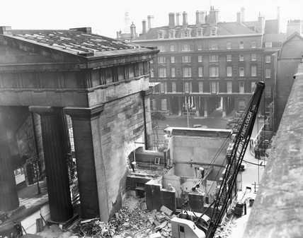 The demolition of the Doric portico at Euston Station, London, 1961.