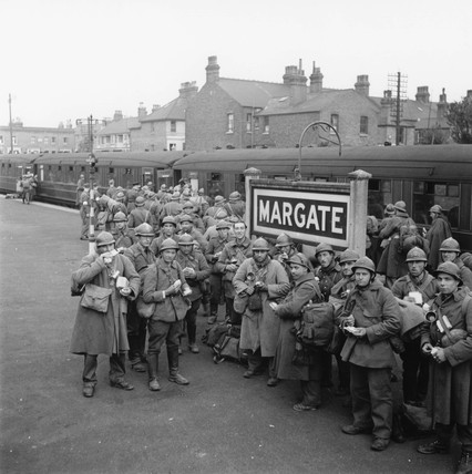 Belgian soldiers at Margate Station, 4 June 1940.