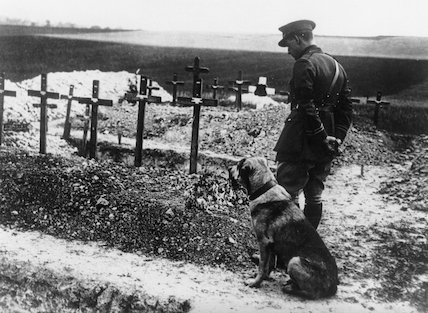 A soldier and his dog on the Western Front, France, 1914-1918.