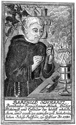 Berthold Schwarz, German Franciscan monk, c 1380.