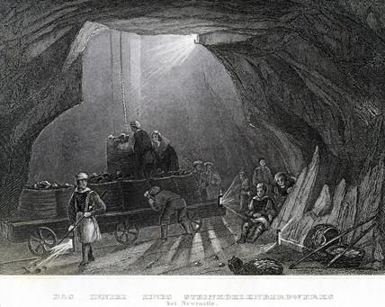 'The interior of a coal mine in Newcastle', c 1860.