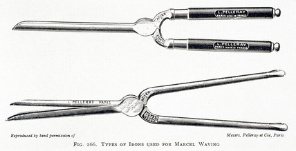 Irons used for the Marcel Wave hairdresing technique, c 1890s.