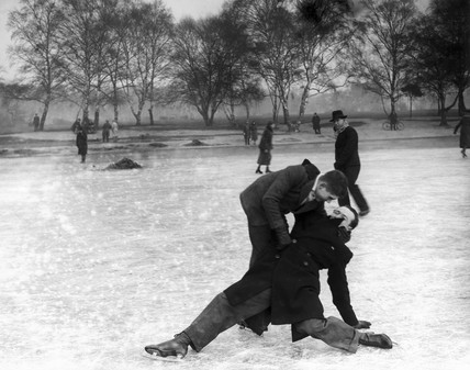 Skaters falling over on the ice, Wimbledon, London, 27 January 1932.