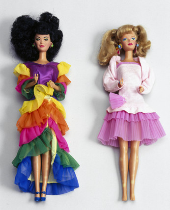 Two Barbie dolls, late 1970s and late 1980s.