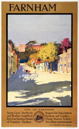 Farnham, Surrey, Southern Railway poster, 1923-1948.