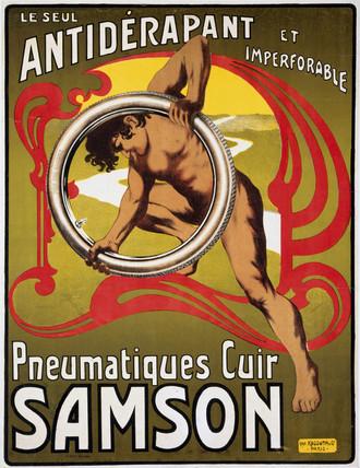 'Pneumatiques Cuir Samson', poster, c 1910.