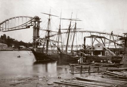 The Royal Albert Bridge under construction, 1858.
