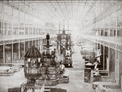 Interior view of the Great Exhibition, Crystal Palace, London, 1851.