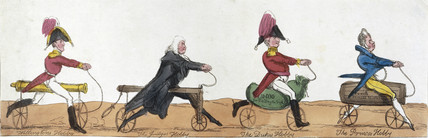 Profesional men riding hobby horses, c 1820.