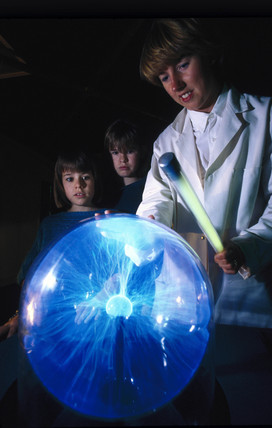 Plasma ball demonstration, Launch Pad, Science Museum, London, 1992.