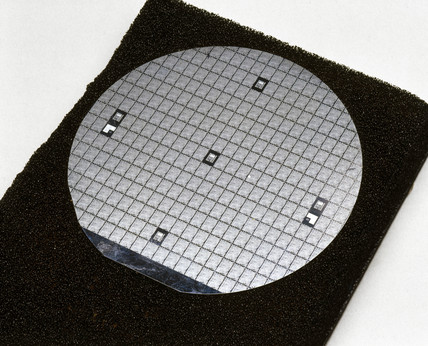 Silicon wafer used in the production of Intel 8080 microprocesor chips, 1970s.