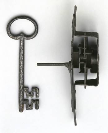 Iron lock, key and bolt, English, 18th century.