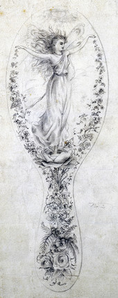 Design for a mirror back, c 1870-1875.