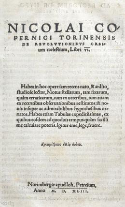 Title page of 'De revolutionibus orbium caelestium', 1543.