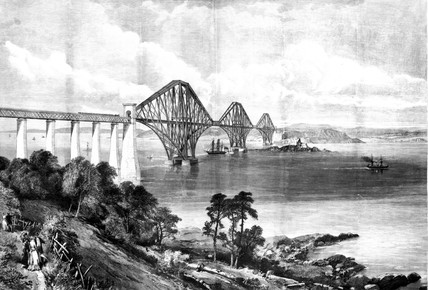 The Forth Bridge from the southern shore, 1889.