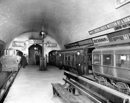 City & South London electric tube trains at Euston underground station, c 1908.
